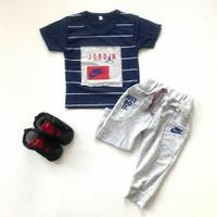 Baju setelan kaos celana jogger lucu pergi fashion anak bayi laki