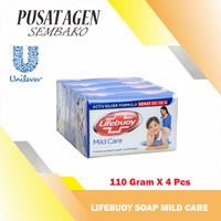 LIFEBUOY SOAP MILD CARE 110 G GR 4 PCS SABUN MANDI BATANG BIRU 110GR