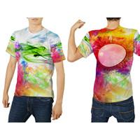 Baju Kaos Tshirt Pria Motif Colorfull Abstrak Marble Rainbow Custom 01