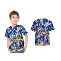 Kaos T-shirt Baju Anak Kartun Sonic Game Fullprint Custom - S - S