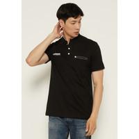 Woffi Man Kaos Pria - Denim Brand Henley T-Shirt Black