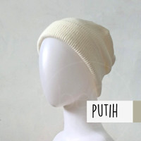 Topi Kupluk Dewasa Putih Snow White Beanie Hat Polos