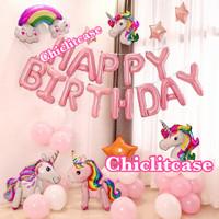 set paket balon ulang tahun unicorn dekorasi pesta birthday pony anak