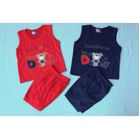 Setelan SINGLET OBLONG KATUN Bayi Usia 0-12 Bulan motif DADDY - Merah