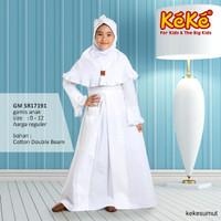 Kekesumut Baju Gamis Anak perempuan Katun PUTIH GM SR18191 muslim