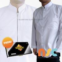 [PROMO] Paket! Baju Koko Putih Polos + Sarung - Pria Muslim Dewasa
