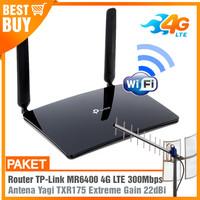 Paket Router Modem WIFI 4G LTE TPLINK MR6400 & Antena Yagi Grid 25dBi - TIPE TXR175, KABEL 15M