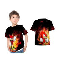 Kaos T-shirt Baju Anak Sonic Kartun Red Fullprint Custom - S - S