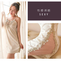 PREMIUM Silk Lingerie Dress Gaun Malam V Neck Sexy Backless Floral