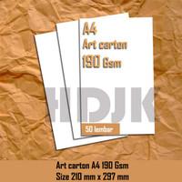 Kertas Art carton 190 ukuran A4 (210mm X 297mm)
