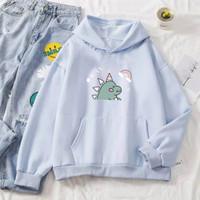 Sweter Wanita Hoodie Babyblue Lilac Chocomilk Fleece Tebal Dino Murah