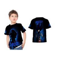 Kaos T-shirt Baju Anak Sonic The Hedgehog Dark Fullprint Custom - S - S
