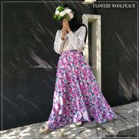 Rok Panjang Muslimah Terbaru Flowery Umbrella Skirt