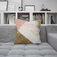 Holi | sarung bantal pillow mewah 45 cm motif sofa geometri emas pink