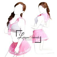 Set Lingerie Baju + Rok Sexy model Cosplay Seragam Jepang warna Pink