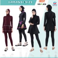 Baju Renang Wanita Muslim Muslimah Dewasa Hijab Edorasport mldw - all black, M