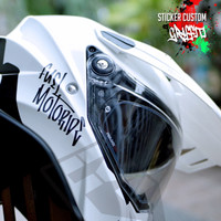 Sticker Custom Nama Graffiti Helm Motor kyt ink zeus gsx cbr r15 pcx - Putih, Style 1