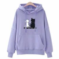 Sweater Hoodie Love You Love Me ungu lilac motif kucing Sweater Wanita