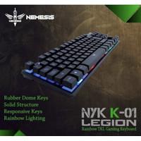 KEYBOARD GAMING NYK LEGION K-01 (TKL RUBBER DOME RAINBOW)