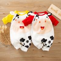 Baju Bayi Import Korea Motif Moo Red Ylw 100% Katun baju bayi Unisex