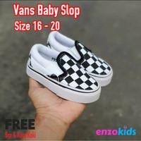 Sepatu Bayi Vans Baby Slip On Catur Black White Usia 0 1 2 Tahun