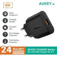 Aukey PA U28 Wall Travel Charger Quick Charge 2.0 18W GIT Hitam