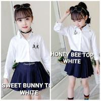 MILANBERRY SWEET BUNNY TOP WHITE kemeja putih formal anak perempuan
