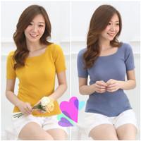 Atasan Knit Square Neck Blouse Wanita Premium Import Impor