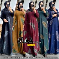 Baju Gamis Wanita Belina Maxi Bahan Denim Ukuran Jumbo Ori Redea Hijab