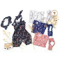 LISA SET Baju Kodok Anak Jumpsuit Celana 3/4 Katun FREE BANDO - Putih, S