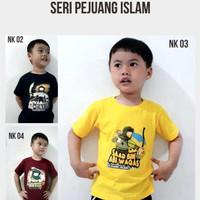 kaos anak muslim seri pejuang islam - marroon, L 5-7 tahun