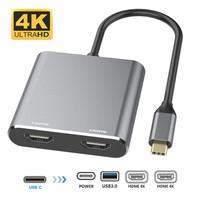 Kabel Converter Adaptor USB Type C to Dual 2*HDMI 4K/USB 3.0/PD Type C