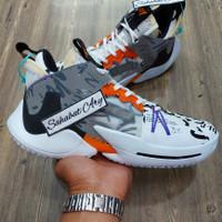 Sepatu Air Jordan Why Not Zero 2 Brodiego White Orange Pulse