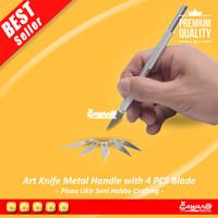 Pen Cutter Set + Refill 5 Pcs Art Knife Pisau Ukir Cutting Sticker