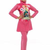 Baju Renang Anak SD Perempuan Muslimah usia 6 - 10 th - Frozen Pink, M