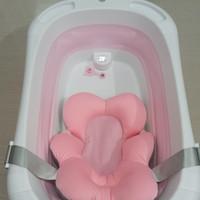 Bak Mandi Bayi Lipat (Foldable Bathtub) + Termometer - pink, No Alas Bantal