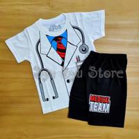 Setelan Baju Kaos Anak Laki Laki Profesi Dokter Doctor Putih Hitam