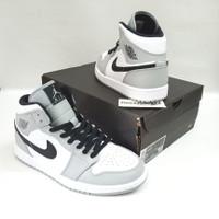 Nike Jordan 1 Mid Light Smoke Grey 554724-092 BNIB HQ Leather Material