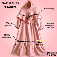 Gamis Anak Perempuan - Baju Muslim Anak 1 2 3 4 5 6 7 8 9 10 11 12 - Pink, 1-2 tahun
