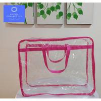 Tas Bed Cover Single bahan Plastik Mika warna Pink