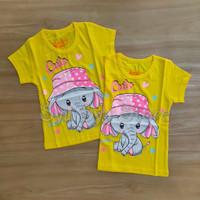 Baju Kaos Atasan Anak Perempuan Hewan Animal Elephant Gajah Kuning