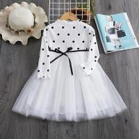 dress baju pesta anak polkadot lengan panjang import - Putih, 3 thn