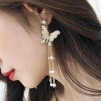 Anting kupu butterfly earring model Korea rumbai panjang untuk pesta