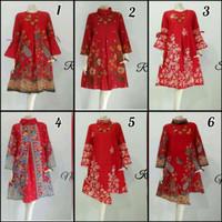 Baju Tunik Batik Wanita Spesial Merah Natal