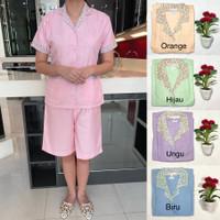Baju seragam suster (kulot)/ baju baby sitter/ nanny (motif bunga) - Orange, S