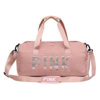 Tas Olahraga Tas Travel Duffell Bag Blink Dengan Manik Tulisan Pink