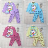 Stelan Baju Celana Panjang Pakaian Anak Perempuan Unicorn 3-8 Tahun