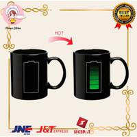 Gelas Kopi Unik Berubah Warna Air panas-dingin motif baterai Magic Mug
