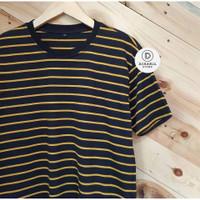 Kaos Garis Stripe Polos Pria Warna Medium Hitam Kuning Katun Adem