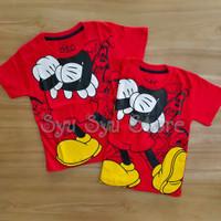 Baju Atasan Kaos Anak Laki Laki Disney Mickey Miki Mouse Merah Body